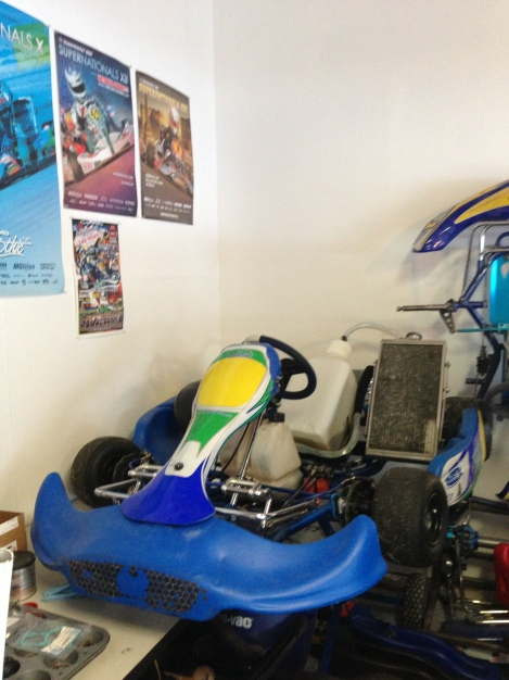 My 2012 Karting season in its natural habitat....in my garage.